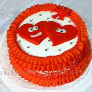 Торт с двумя сердечками